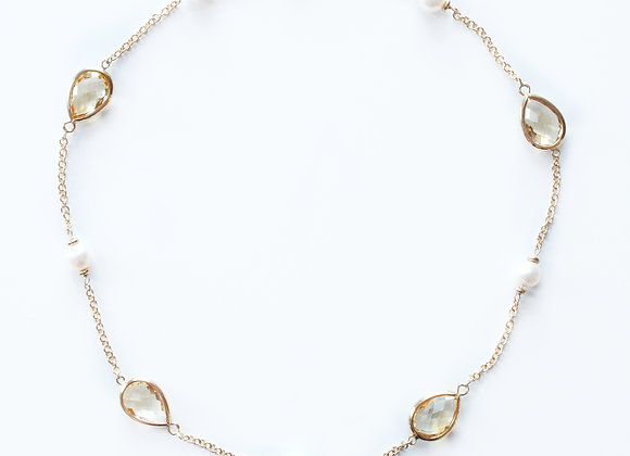 Pear Citrine & Pearl Necklace