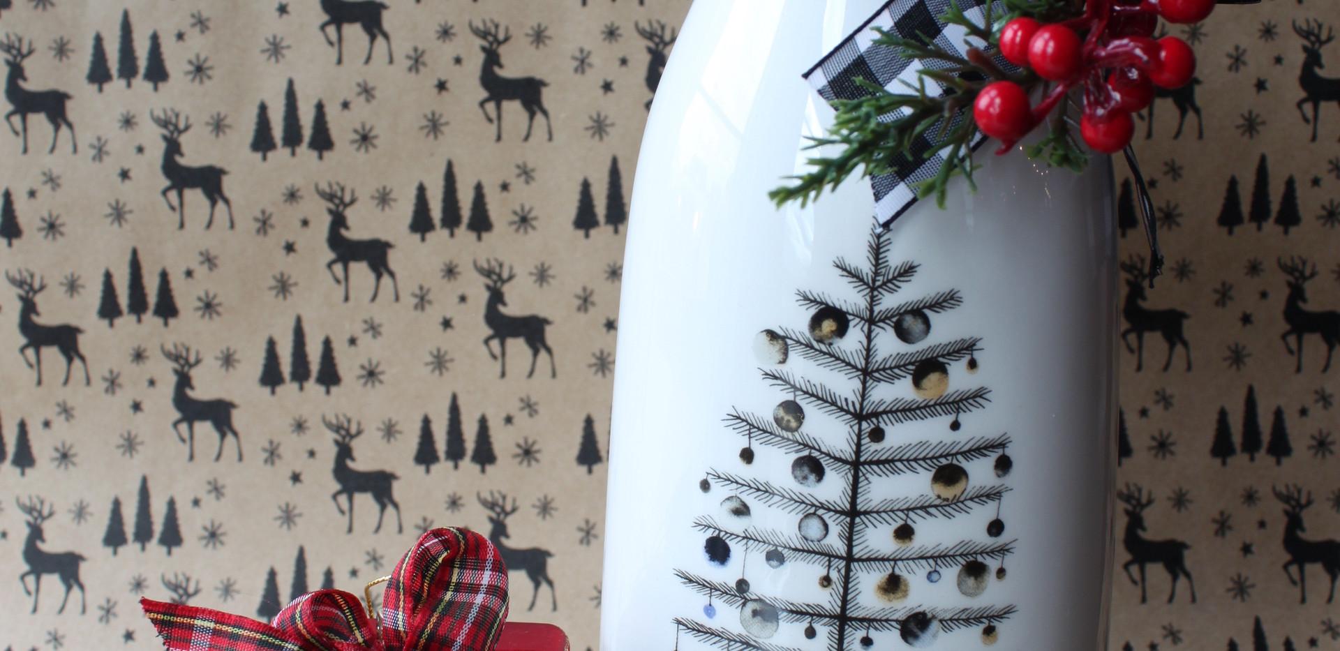 Christmas Plaid Ornament & Bottle