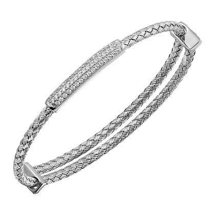 Silver Expansion Bangle With CZ Bar