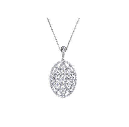 Oval Lattice Diamond Pendant