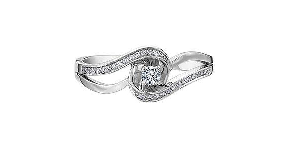 Round Cut Diamond Ring White Gold with Multi Stone Swirl Accent