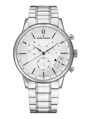 Silver and White Metal Watch by Claude Bernard