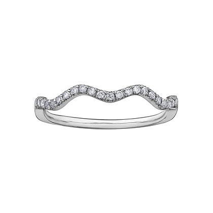 White Gold Wavy Diamond Stackable Ring