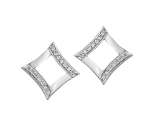 White Gold Open Square Diamond Earrings
