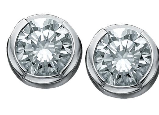 Brilliant Cut Bezel Set Canadian Diamond Studs