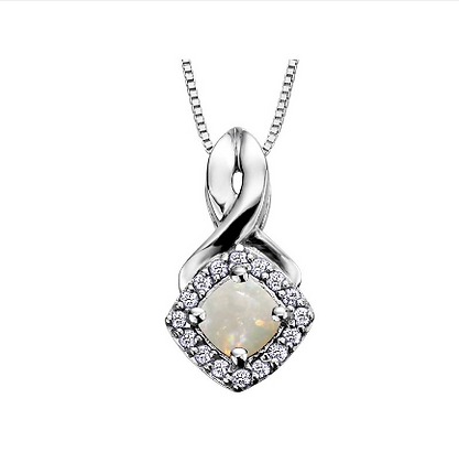 Cushion Cut Opal & Diamond Halo Pendant