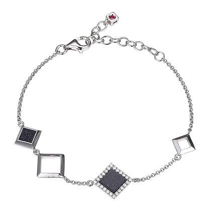 Silver Square Blue Speckled Stone Bracelet