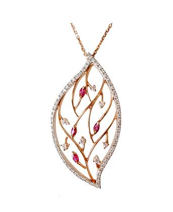 Ruby & Diamond Leaf Pendant