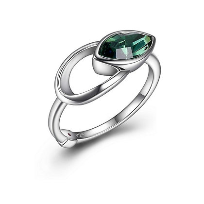 Silver Green Swarovski Marquise Ring