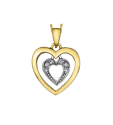 Yellow & White Gold Double Heart Diamond Pendant