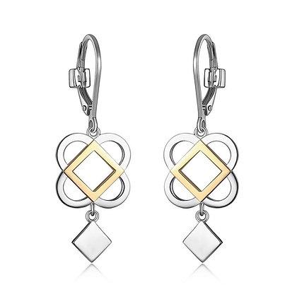 Two Tone Silver Florence Motif Earrings
