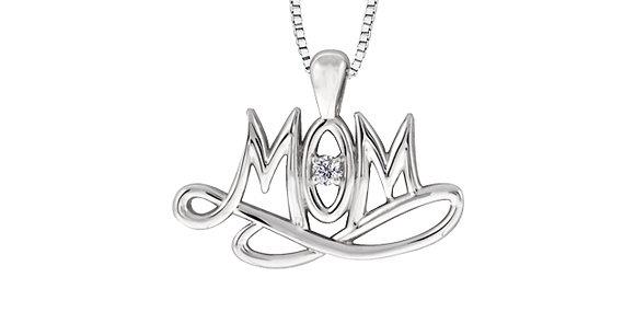 "Silver ""Mom"" & Canadian Diamond Pendant"