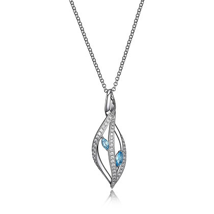 Silver Blue Topaz Swirl Necklace