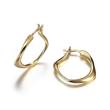Yellow Gold Plated Twisted Hoops