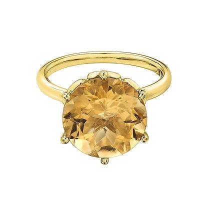 Round Solitaire Citrine Ring