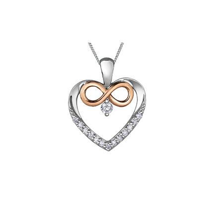 Diamond Heart & Infinity Sign Pendant