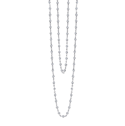 Silver Long Stationed Round Simulated Diamond Necklace
