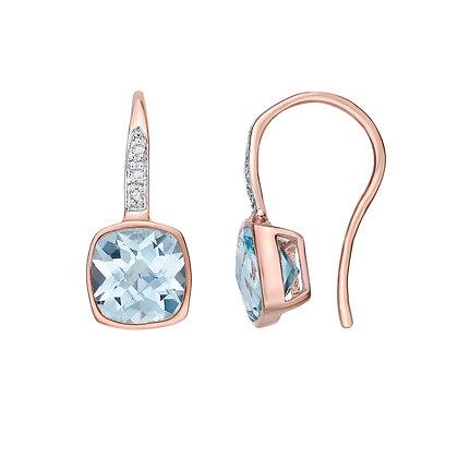 Cushion Cut Blue Topaz Shepherd Hook Earrings