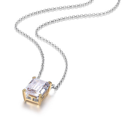 Silver & Yellow Gold Plated Emerald Cut Cubic Zirconia Necklace