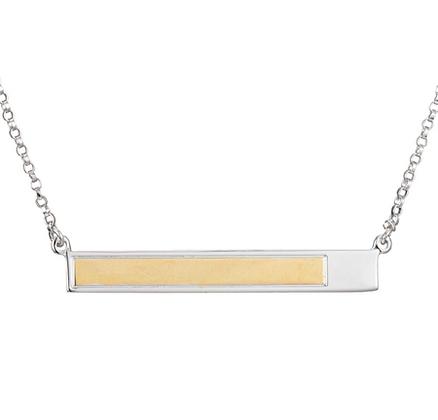 Two Tone Silver Sideways Bar Pendant