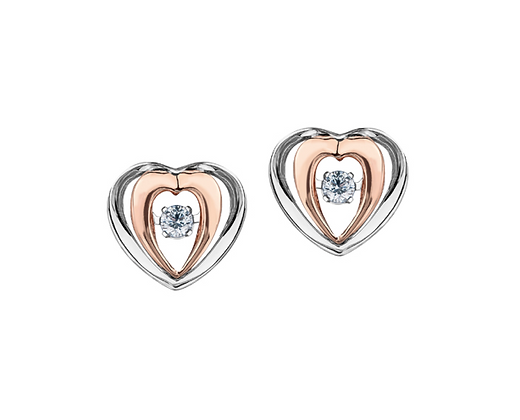 Two Tone Heart Earrings With Pulsating Diamonds