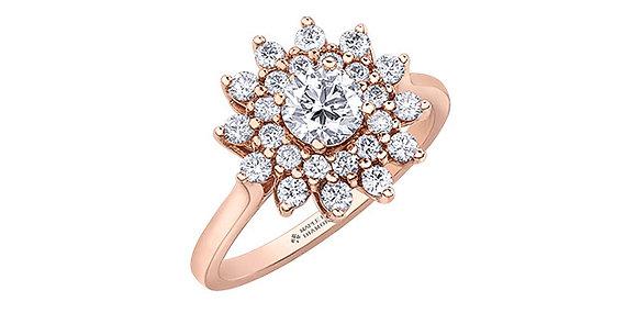 Rose Gold Sunburst Diamond Cluster Ring