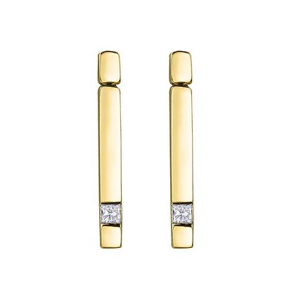 Yellow Gold Princess Cut Canadian Diamond Drop Earrings