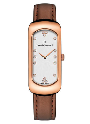 Rose and Brown Leather Strap Watch by Claude Bernard