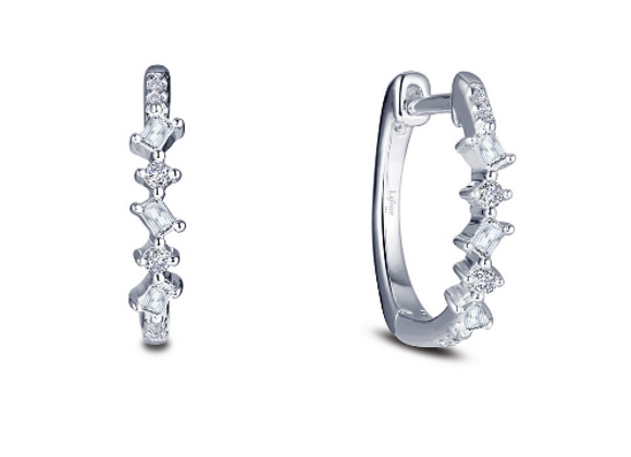 Baguette & Round Simulated Diamond Hoops