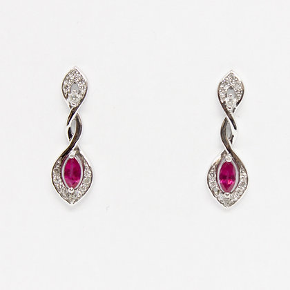 Marquise Ruby Drop Earrings With Diamonds