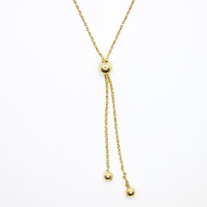 Yellow Gold Bolo Style Necklace