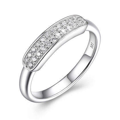 Silver Cubic Zirconia Bar Ring (Size 6)