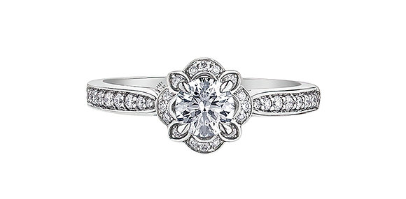 Round Cut White Gold Diamond Ring with Diamond Halo and Accent Diamonds