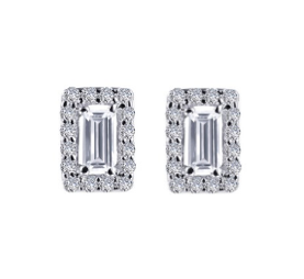 Silver Simulated Diamond Baguette Studs With Halo