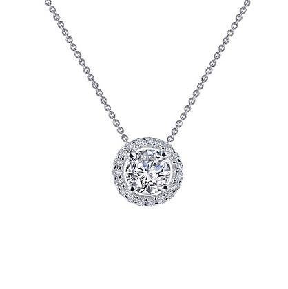 Silver Round Simulated Diamond Pendant With Halo