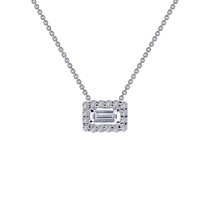 Silver Simulated Diamond Baguette Pendant With Halo