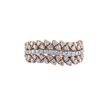Rose Gold Wavy Cluster Diamond Ring