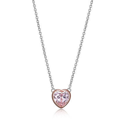 Silver & Rose Gold Pink Cubic Zirconia Heart Necklace