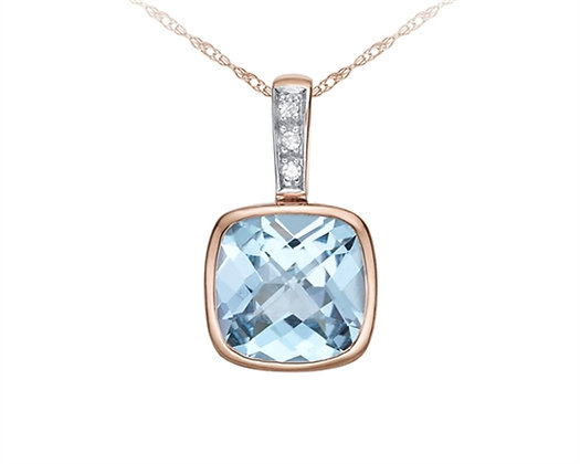 Cushion Cut Sky Blue Topaz and Diamond Pendant