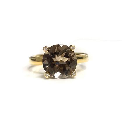 Round Smokey Quartz & Diamond Ring