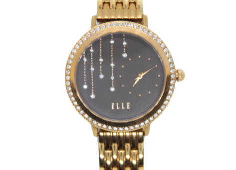 ELLE Gold Plated Link Watch With Swarovski Crystals