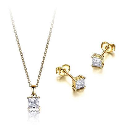 Yellow Gold Plated Princess Cubic Zirconia Pendant & Earring Set