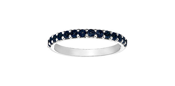 White Gold & Created Sapphire Stackable Ring