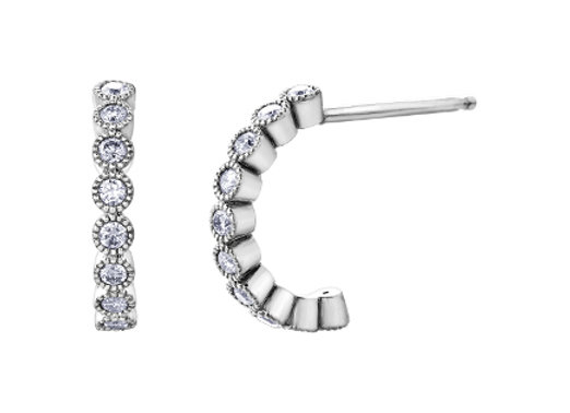 Diamond Halo Hoop Stud Earrings