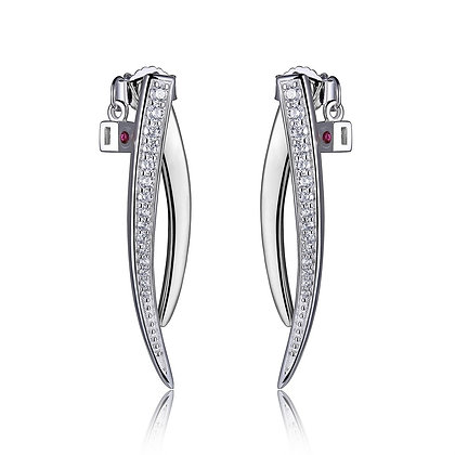 Silver Horn CZ Drop Stud Earrings