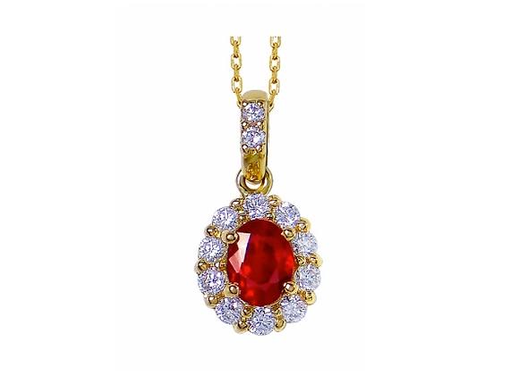 Oval Ruby and Diamond Halo Pendant