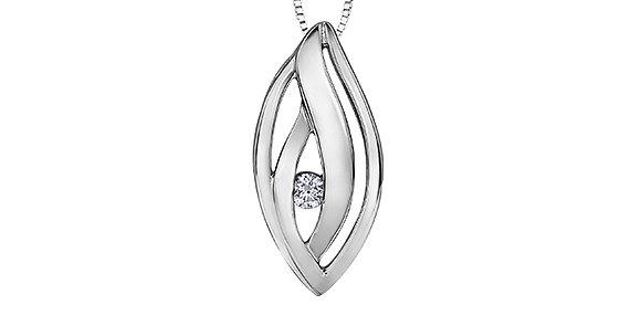 Silver Open Decorative Oval Canadian Diamond Pendant
