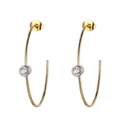 Yellow Gold Plated Solitaire Cubic Zirconia Thin Hoops (30mm)