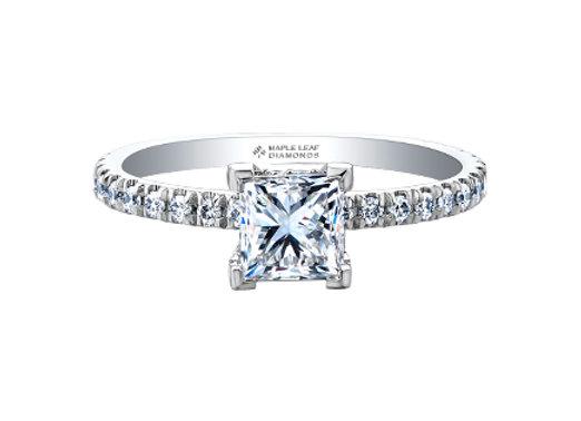 Canadian Princess Cut Diamond Solitaire with Accent Diamonds