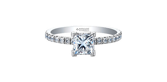 Canadian Princess Cut Diamond Solitaire with Accent Diamonds